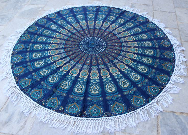 #Roundies #Indian Mandala # Roundies With Tassle -   Blue Turquoise Peacock Feather With Hand Knitted White Tassel for more info you can go here -  http://www.fairdecor.com