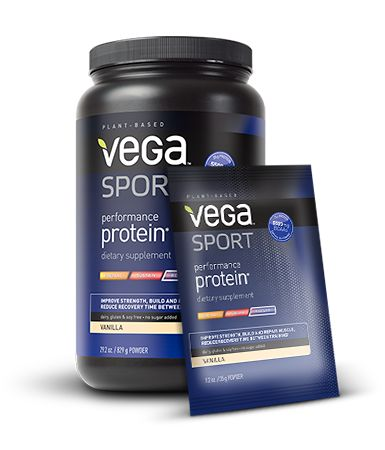 Vega Sport Performance Protein is an acne-safe protein powder designed to improve strength and exercise performance, repair and build muscles, and reduce recovery time.