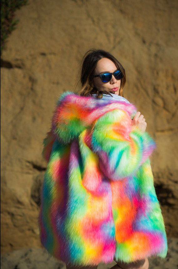 Silver Rainbow Colorful Burning Man Fake Fur Shiny by SHUBAdesigns