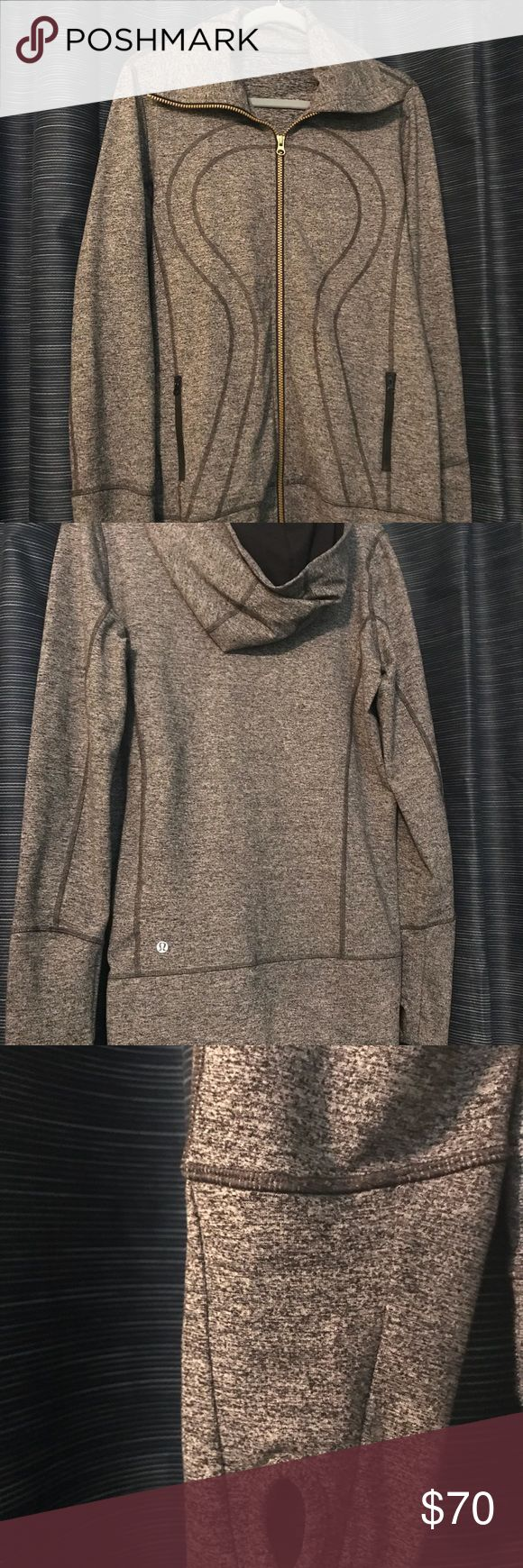 Heathered Gray Lululemon Hoodie Heathered gray Lululemon hoodie - perfect for running or wearing to and from the gym. Excellent condition - it's mostly been sitting in my closet. lululemon athletica Tops Sweatshirts & Hoodies