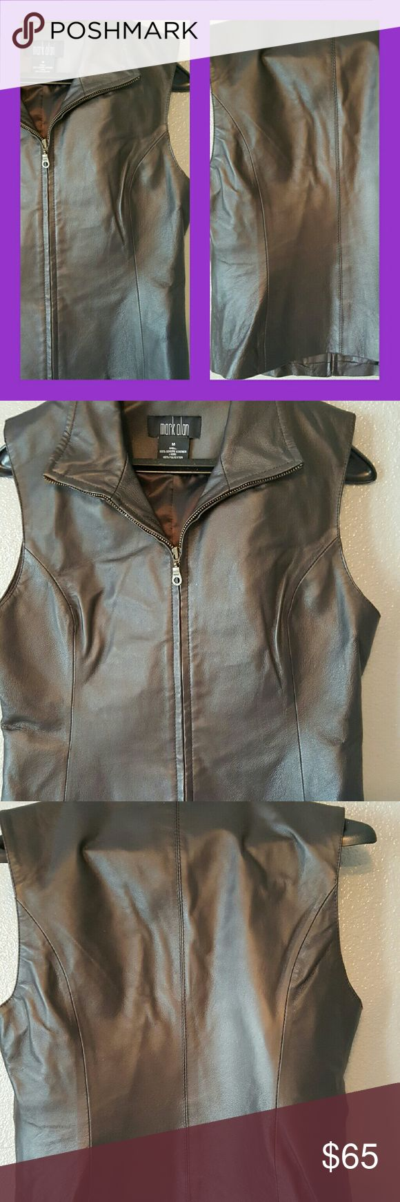 New list..Excellent condition real leather vest. 100% Real leather sleeveless vest. Add a punch to any outfit with this jewel. Mark Alan Jackets & Coats Vests