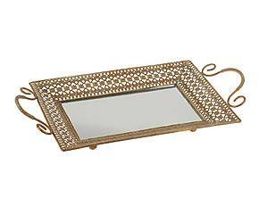 Vassoio con fondo specchiato in metallo Class - 43x24x6 cm