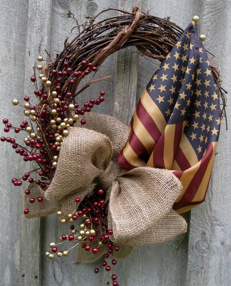 Americana Tribute Wreath with Tea Stained Flags. Looks like my next DIY