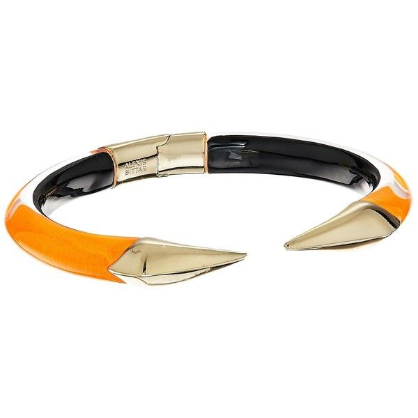 Alexis Bittar Mirrored Pyramid Brake Hinge Bracelet (Neon Orange... ($145) ❤ liked on Polyvore featuring jewelry, bracelets, engraved jewelry, hinged bangle, neon jewelry, neon bangles and alexis bittar bangle