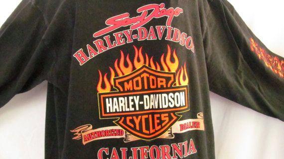Harley Davidson Flame Long Sleeve Shirt San Diego California Vintage Harley T shirt sz M Authentic Harley Label   $35.00   ReVintageBoutique.Etsy.com