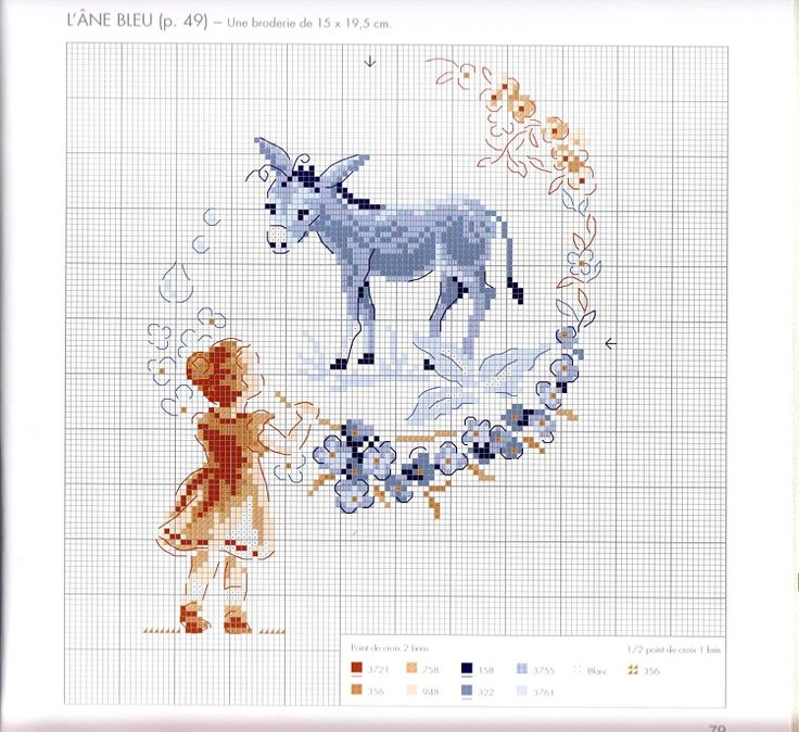cross stitch - little donkey with girl