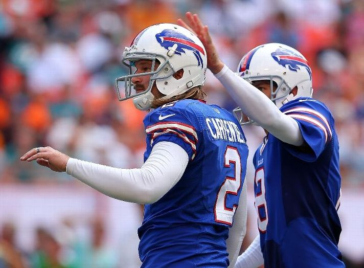 MIAMI GARDENS, FL - OCTOBER 20: Dan Carpenter #2 of the Buffalo Bills is congratulated after kicking the go ahead field goal during a game against the Miami Dolphins at Sun Life Stadium on October 20, 2013 in Miami Gardens, Florida.