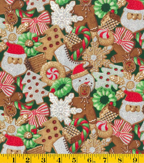 Holiday Inspirations� Patty Reed Christmas Fabric-Christmas Cookies Glitter