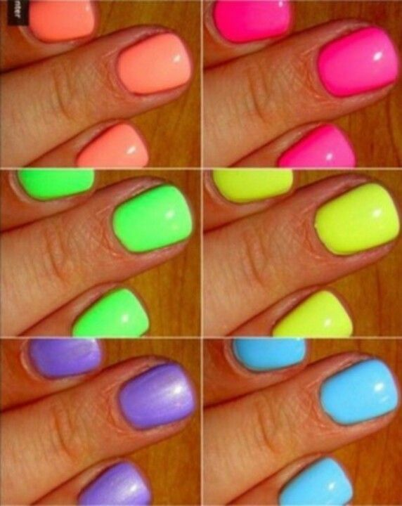 Bold neon nails for the summertime!! #IPAProm #Neon #Nails #Summer