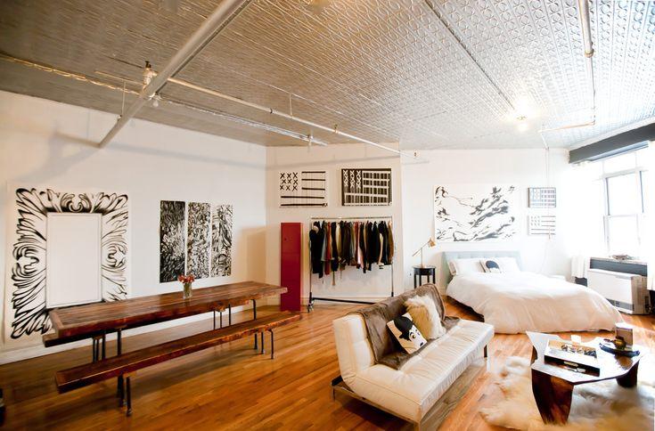 decorating studio apartments black sofa | Graceful Studio Apartment Ideas in Dining Room Industrial ...