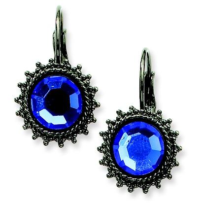 Black-plated Blue Crystal Drop Leverback Earrings $19.95