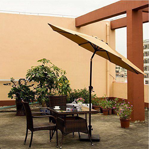 Outdoor 9' Patio Umbrella Aluminum Garden Pool Outdoor w/Crank 8 Ribs Beige NEW #OutdoorPatioUmbrella