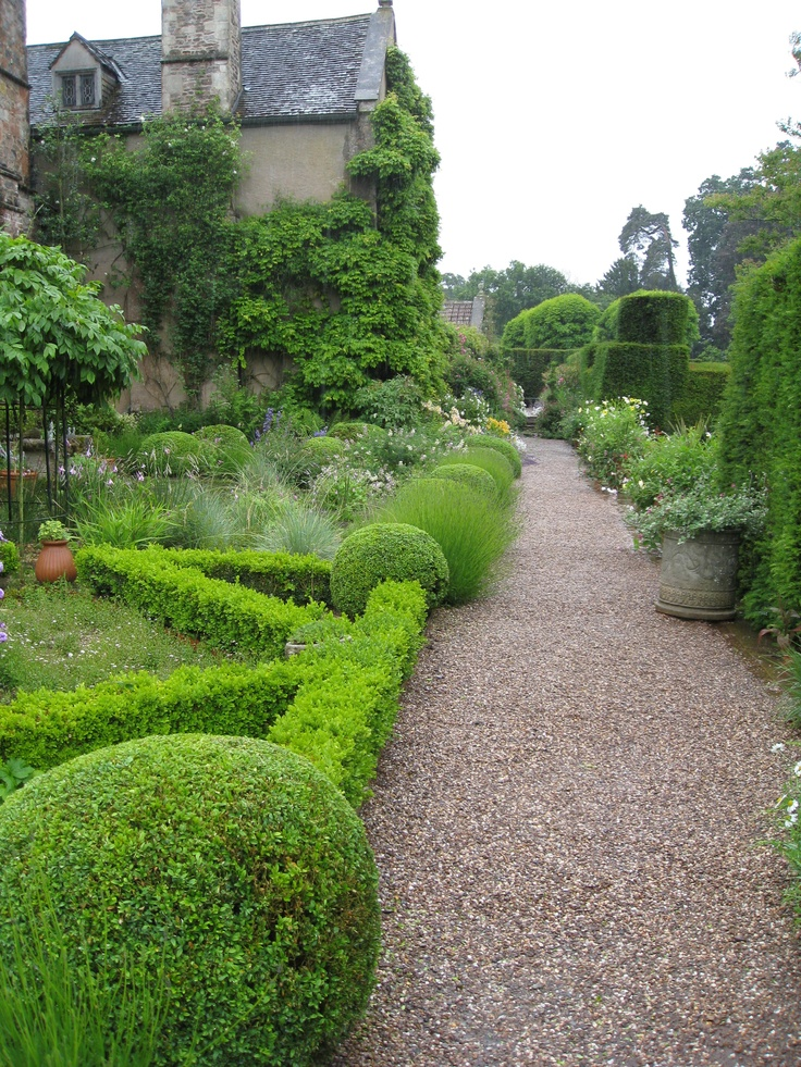 Well-maintained topiary at Cothay Manor