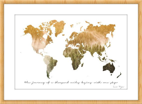Custom Quote world map Lao Travel Meditation Landscape Photography wall decor art print digital wanderlust trees woodland home poster trip  Wold map with Lao Tzu quote and photography of Finland! This is a printable wall art! Print recommendation 50cmx75cm.  If you want to discover more maps: https://www.etsy.com/es/your/shops/IrenaIntothewild