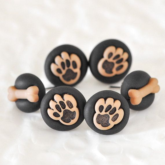 Puppy Paws Pushpins with Mini Dog Bones in Black Polymer Clay Animal Lover Gift Set for Back to School