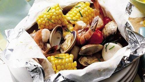 Grilled Seafood Packs with Lemon-Chive  Butter. More foil pack dinner ideas