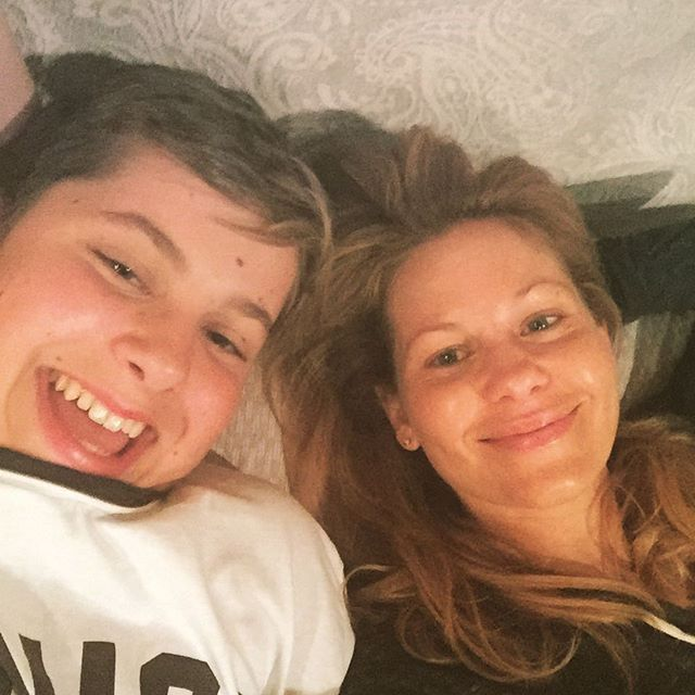 "Pin for Later: Candace Cameron Bure's Sweet Family Snaps Couldn't Be Cuter  Candace: ""At home with my kiddos and am sooooo happy. Maks and me."""