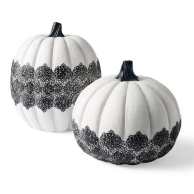 Lace Pumpkins #modern #Halloween #gothic #lace #decorating #tablepiece #pumpkins #white  Visit us for Soy Candles & Goat's Milk Soap http://www.jackbenimblecandles.com: Halloween Decor, Indoor Decor, Lace Pumpkin, Grandin Roads, Halloween Pumpkin, Colors Schemes, Holidays Decor, Modern Halloween, White Pumpkin