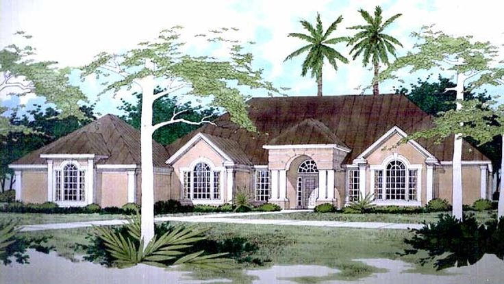 Mediterranean House Plan with 3983 Square Feet and 4 Bedrooms(s) from Dream Home Source | House Plan Code DHSW41435