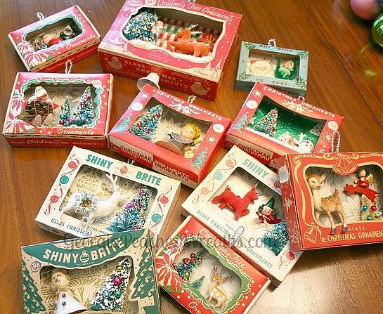 Christmas Shadow Boxes made of old Ornament Boxes.