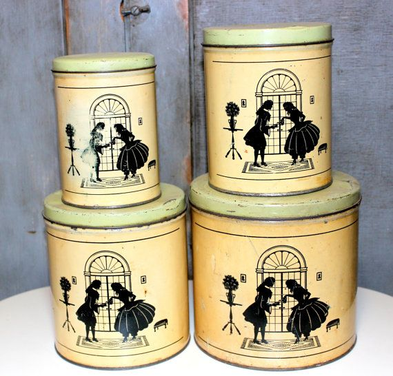 Silhouet bussen Set van vier 4 Vintage silhouet paar Tin Cans metalen Vintage keuken aanbod Containers Vintage rustieke silhouet