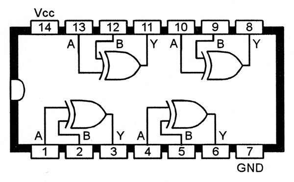 Functional diagram of the 74LS86 or 74HC86 Quad EX-OR gate