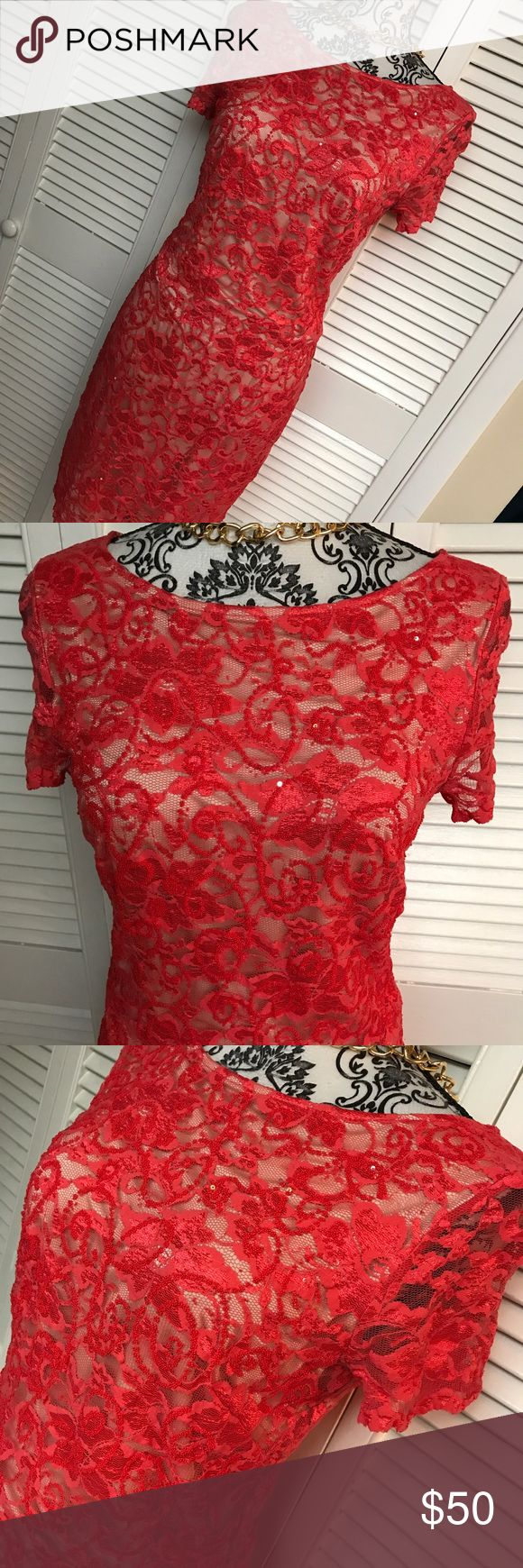 Saks off 5th avenue dress Alexia admor dress  Brand new without tags  Size med  Fully lined  Red lace with sequins  Tons of stretch Saks Fifth Avenue Dresses