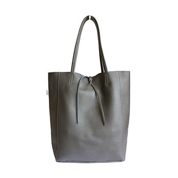Tania Italian Dark Grey Leather Shopper Bag - £49.99