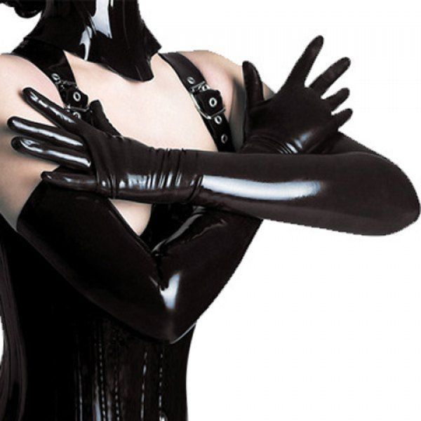 Pair of Chic Solid Color Patent Leather Gloves For Women