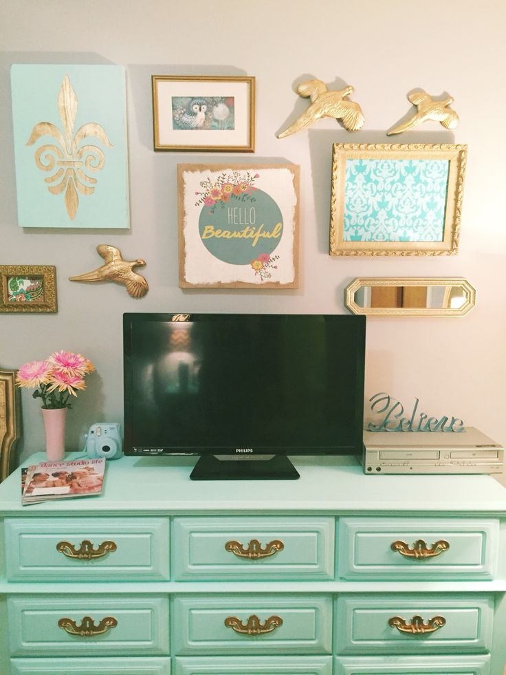 girl bedroom mint green gold coral collage wall