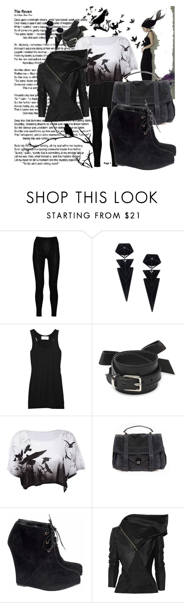 """""""I should fly"""" by luajane ❤ liked on Polyvore featuring Laster, Raven Denim, Rick Owens, Zarah Voigt, Demylee, Sonia by Sonia Rykiel, Proenza Schouler and Opening Ceremony"""