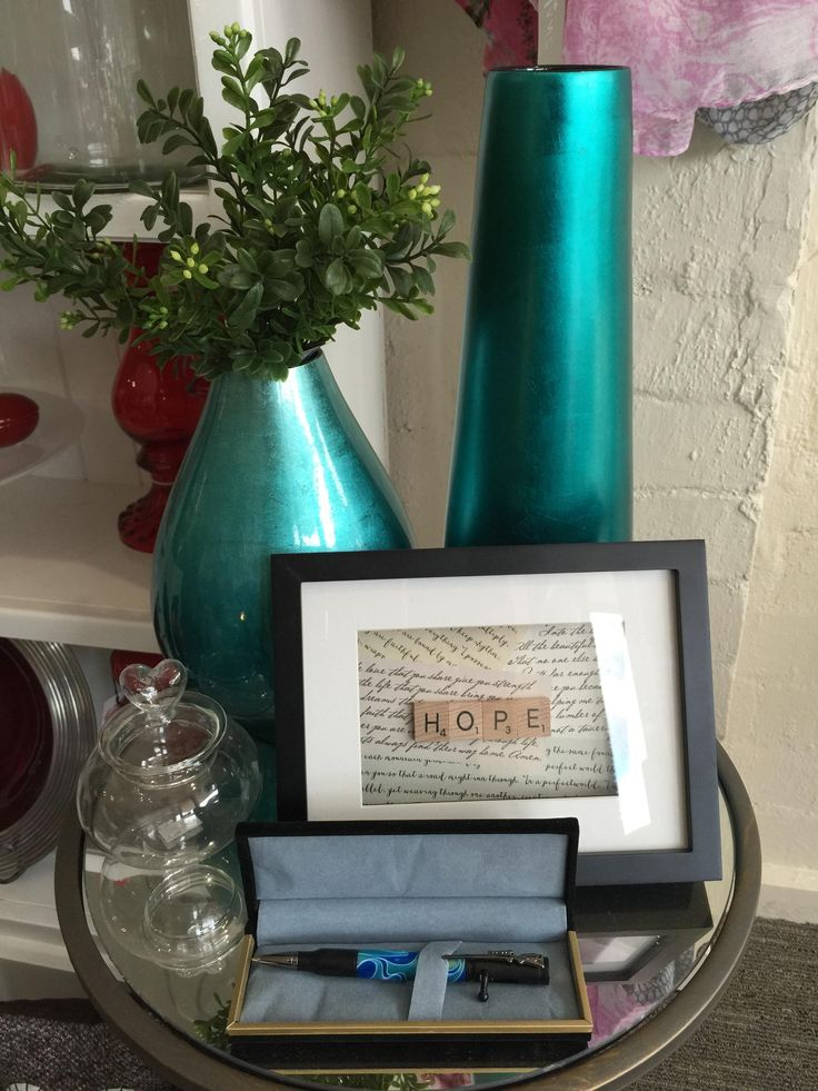 Beautiful teal vase, frame and handmade pen.