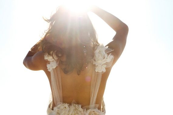 Amazing low open back wedding dress with sheer by Graceloveslace, $1200.00