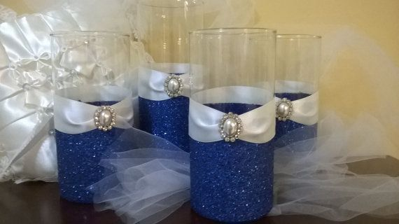 Wedding centerpiece, glitter vase, bridal bouquet holder, bridsmaid bouquet holder, bling wedding, royal blue wedding, candle holder