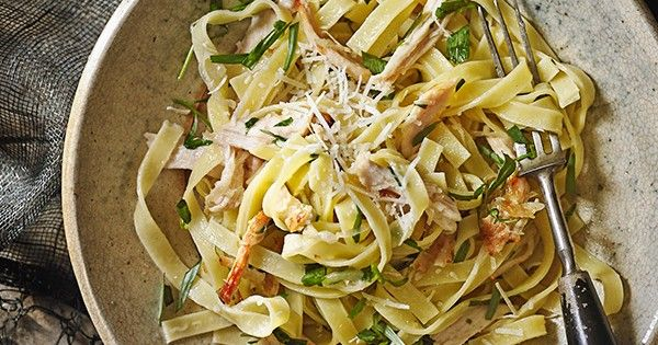 This recipe for tarragon and lemon roast chicken tagliatelle is quick and easy to make and tastes great - perfect for a midweek meal