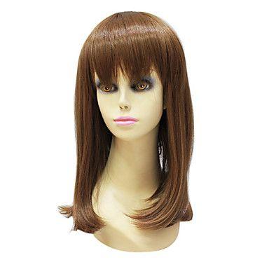Capless High Quality Synthetic Janpanese Kanekalon Medium Length Light Brown Straight Hair Wig For Women