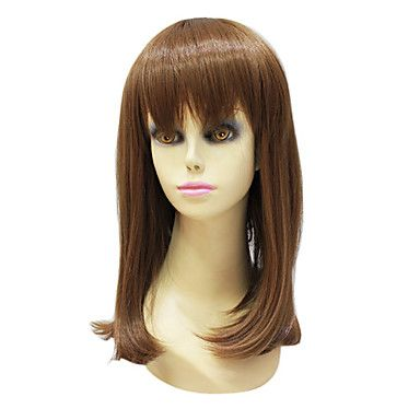 Capless High Quality Synthetic Janpanese Kanekalon Medium Length Light Brown Straight Hair Wig For Women