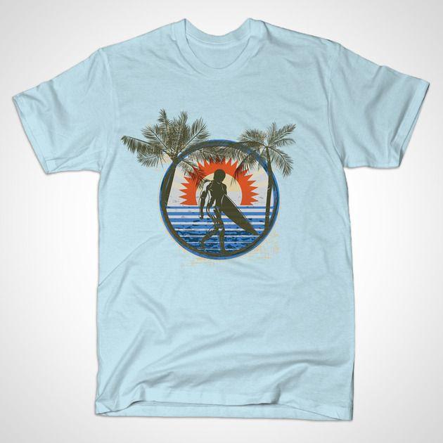 Summer Sun Surfing Beach Palm Trees TSHIRT
