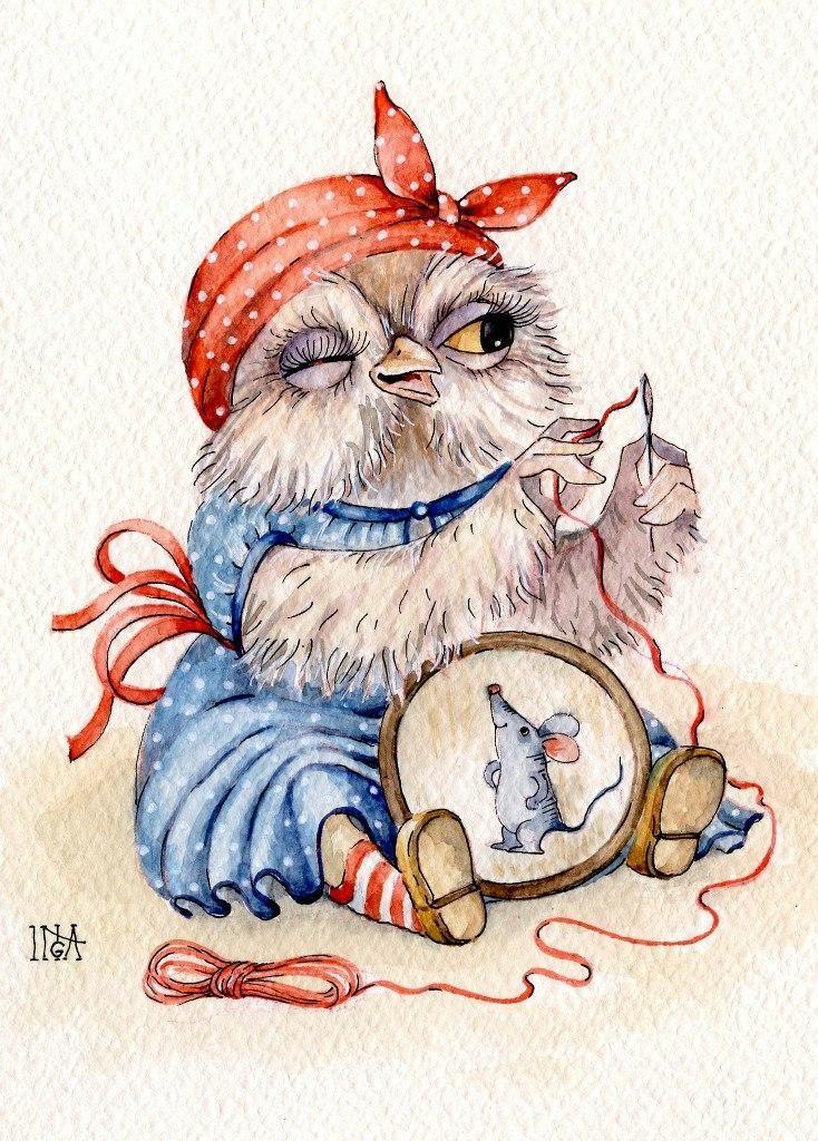 Волками, совы рисунки открытки