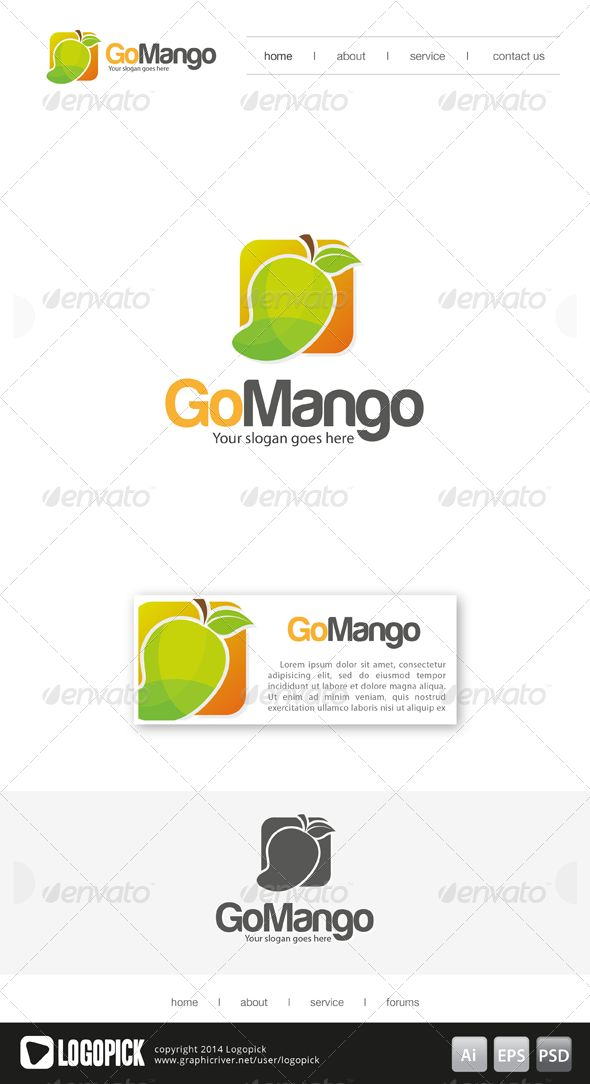 Go Mango Logo is 100 editable and resizeable vectors!suitable for service, housing or other related. Well organized file, All col