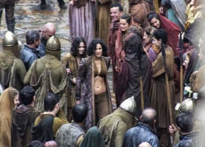 More Set Images From Game of Thrones Season 7     Another batch of Game of Thrones season 7 set snaps have popped up online and like the recent cropof Lannister-centric images from SpainsLos Barruecos National Park these also signpost some pretty major spoilers  this time revolving around the villainous Euron Greyjoy his defiant niece and twovery familiar Dornish prisoners.The pictures surfaced over at Watchers on The Wall and clearly show Euron arriving on horseback to a very rainy-looking…