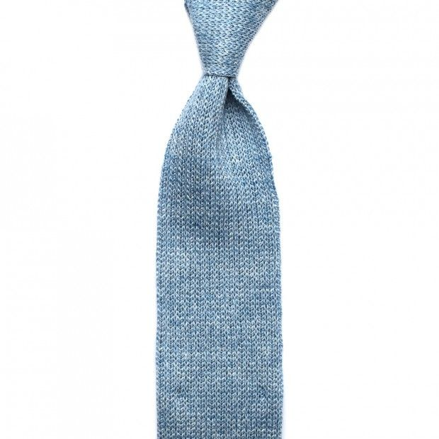 Linen Knitted Tie - Ice Blue Melange - Knitted Ties - Accessories