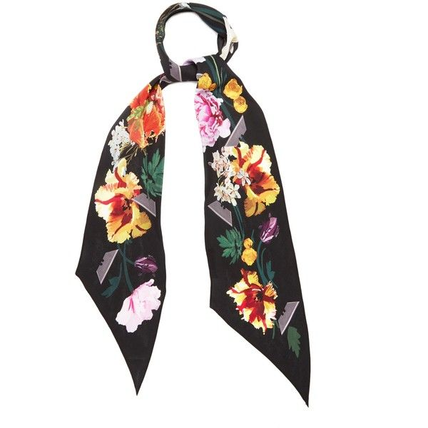 Rockins Flora-print classic skinny silk scarf ($205) ❤ liked on Polyvore featuring accessories, scarves, black, floral print scarves, floral scarves, silk scarves, pure silk scarves and patterned scarves