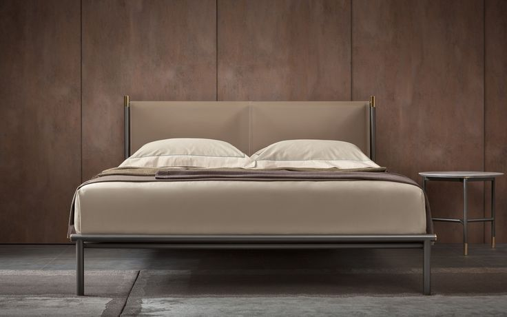 Iko bed - Design Rodolfo Dordoni  - Collezione Flou 2015 -http://www.flou.it/it/collections/novelties2015 - Flou Collection 2015 - Bed Iko, design Rodolfo Dordoni, tubular steel structure burnished colour with polished brass details, dipped in gold. Headboard with not removable hide cover 5E. On the bed, the bed-linen set Tailor 7067, wool plaid 367, cachemire plaid 364, flax plaid 339 #rodolfodordoni #flou #iko #bed #letti #letto