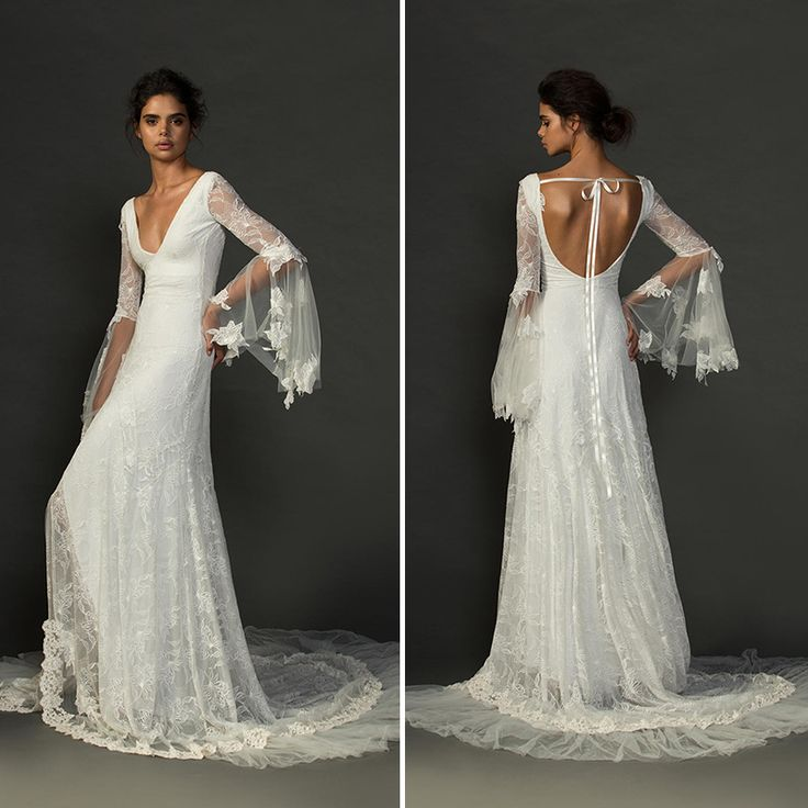 Find a Boho Lace Beach Wedding Dress 2016 Deep V Neck Appliques Long Flare Sleeve Sexy Wedding Dresses Backless Wedding Gowns Online Shop For U !