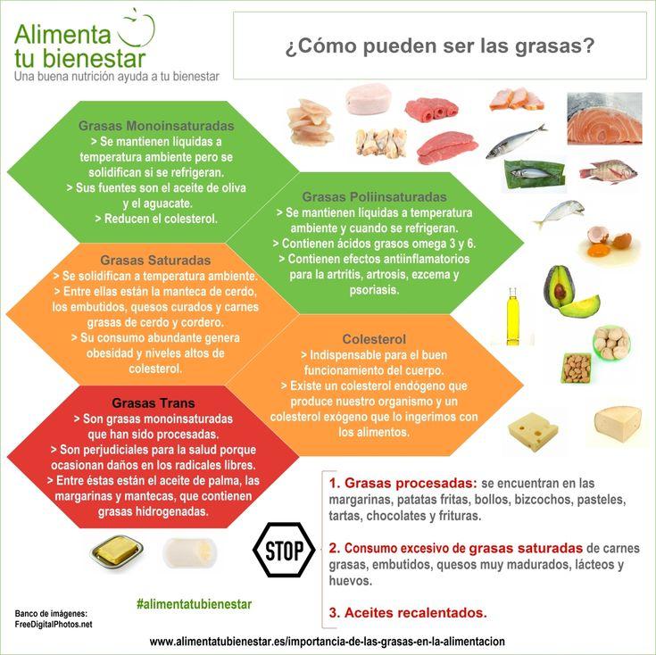 Importancia de las grasas en la alimentación - Infografia tipos de grasa