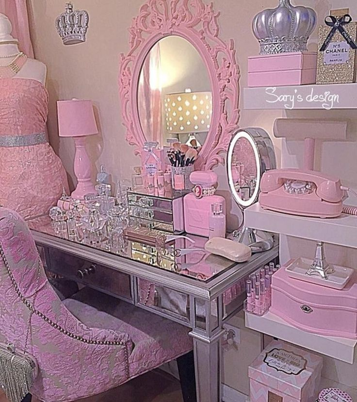 Girly Pink Pastel Makeup Vanity Area In 2019 Bedroom