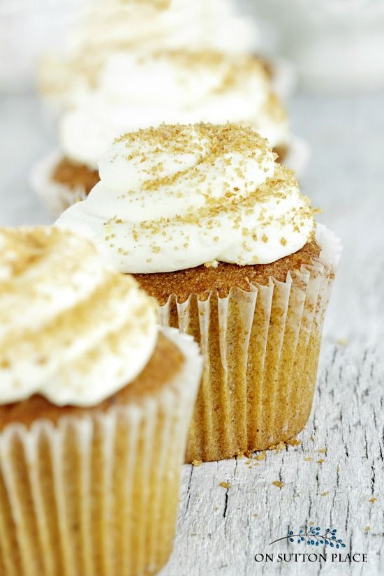 Perfect for fall gatherings! Pumpkin Snickerdoodle Cupcakes with Cream Cheese Frosting. Easy and festive dessert or snack.