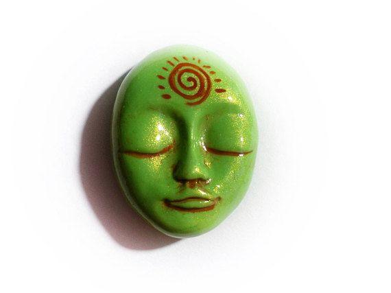 Earth Face Cabochon Green Face cabochon Ethnic cabochon