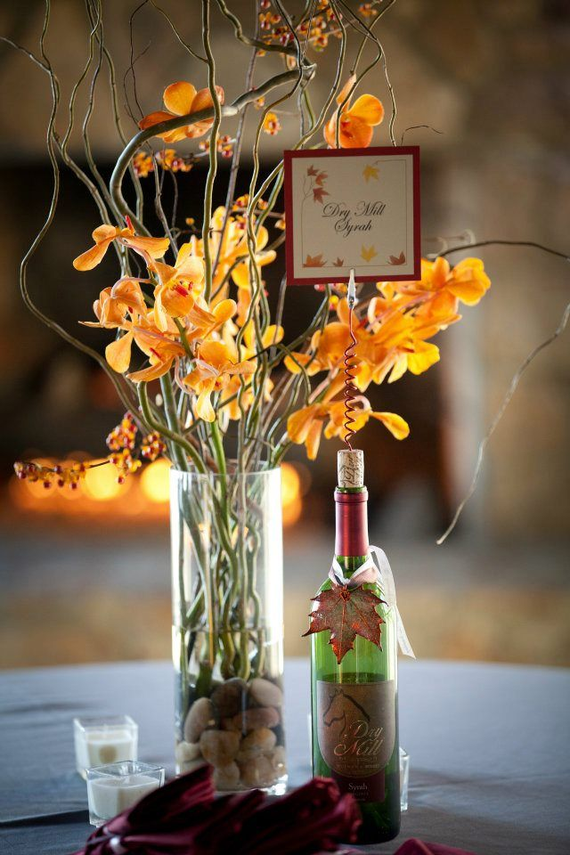 Colors for a wine themed wedding fall wine bottle for Wine bottle wedding centerpieces